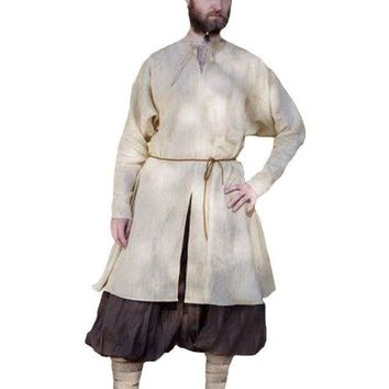 Viking Norman Adult Men Shirt Medieval V-neck Loose Solid Long Sleeve Cotton Linen Men Long Tops Tunic Cosplay Costumes 5XL