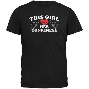 DCCKJY1 Valentines This Girl Loves Her Tonkinese Black Adult T-Shirt