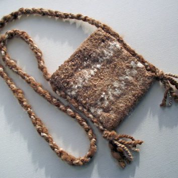 Rustic Felted Crossbody Bag, Artisan Alpaca Handspun Felted Bag,  Rustic Alpaca Purse, Re-enactors Knitted Alpaca Bag, Brown Cream Pouch