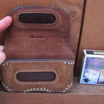 vintage 1990s distressed leather cell phone case by NOCONA with bling. card deck case. clip on cell phone case. clip on belt pouch