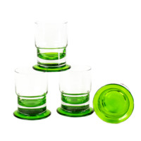 Hand Blown Rocks Glasses, Emerald Green