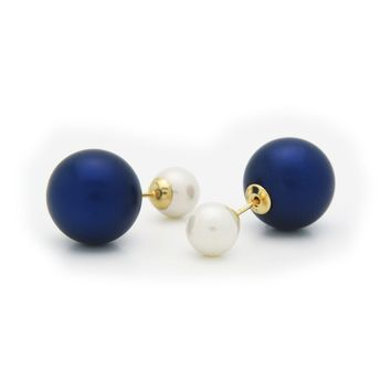 Double Sided Tribal Earrings | 925 Sterling Silver Faux Blue & White Pearls