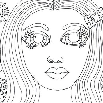 Big Eye Girl forest adult coloring page clip art image graphics digital download flowers tree colouring page printable