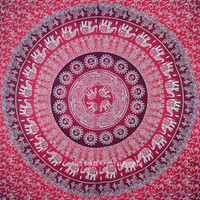 Red Elephant Sun Bohemian Ombre Wall Tapestry Bedding on RoyalFurnish.com