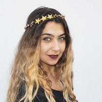 Gold Star Crown - Star Headband, Gold, New Year's Eve, NYE, Hair Accessory, Star Crown, Star, Headpiece, Hair Piece, Gold, Headband, Circlet