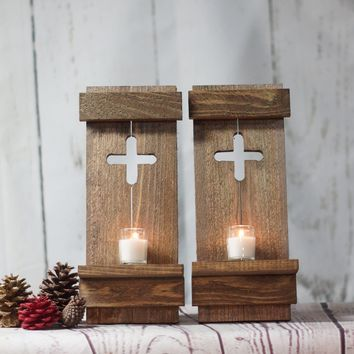 Rustic Wooden Wall Sconce