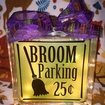 Broom Parking Lighted Glass Block, Witch Halloween Decor