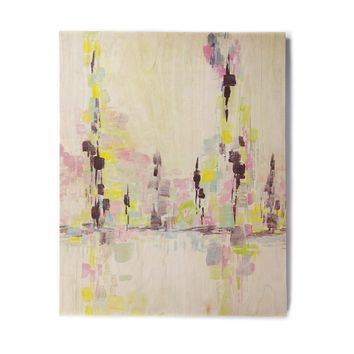 "Viviana Gonzalez ""Improvisation 37"" Yellow Multicolor Painting Birchwood Wall Art"