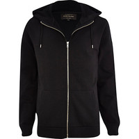 River Island MensBlack high neck zip through hoodie