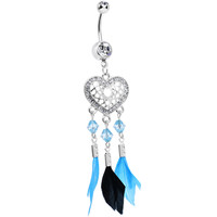Clear Gem Blue and Black Feather Flutter Heart Dangle Belly Ring | Body Candy Body Jewelry