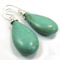 Smooth Turquoise Colored Howlite and Sterling Silver Earrings