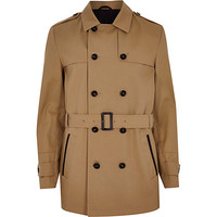 River Island MensBrown smart trench coat