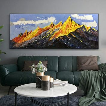 Mountains painting on canvas Original Gold Leaf Abstract acrylic Modern landscape Large painting Wall Pictures home decor cuadros abstractos