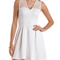 Lace Yoke Skater Dress by Charlotte Russe