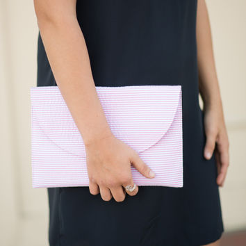 Seersucker Crossbody Bag - Pink