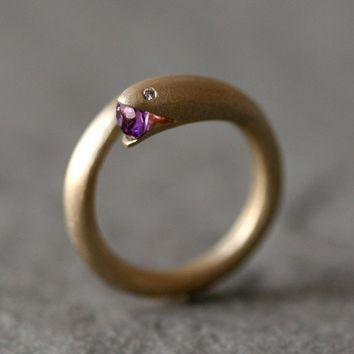Open Mouth Snake Ring in Brass with Purple by michellechangjewelry
