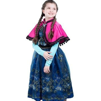 Cool Baby Summer Snow Queen Princess Anna Elsa Flower Lace Dress For Girls Children Kids Vestidos Teenager Dressess Clothing 3-12YAT_93_12