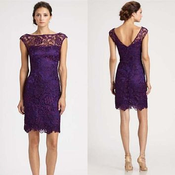 Elegant Sheer Capped Sleeves Purple Lace Cocktail Dress Elegant Special Occasion Dress Party Dresses