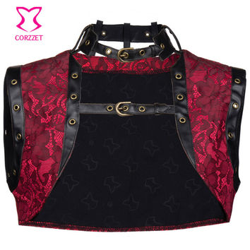 Vintage Red Brocade and Faux Leather Sleeveles Steampunk Corset Jacket Coat Plus Size Women Bolero Gothic Clothing Accessories
