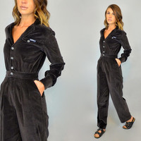CHOCOLATE BROWN vtg 80s faux velvet mechanic coveralls JUMPSUIT Onesuit, extra small-small