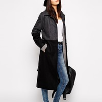 Just Female Two Tone Maxi Coat at asos.com
