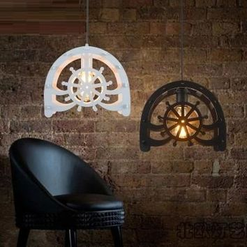 Loft Style Droplight Iron Wheels Pendant Lights Fixtures For Dining Room Antique Hanging Lamp Vintage Industrial Lighting