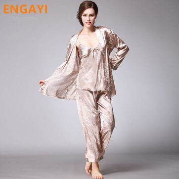 LMFCI7 3 Pcs Autumn Women Robes Bathrobes Sets Sexy Lace Silk Satin Pajamas Pyjamas Pijamas Sets Nightgown Nightwear Night Gown TZ013
