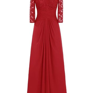US Women's Long Chiffon Bridesmaid Dress Lace Mother of Bride Party Dress