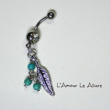 Turquoise Stone Feather Belly Button Ring Navel Body Piercing Gift Present