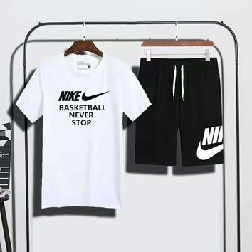 "NIKE ""basketball never stop"" print short sleeve top shorts suit two piece suit sportswear H-AHXF"