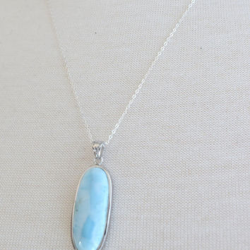 Silver Oval Larimar Necklace, Silver Necklace, 20 inch Silver Chain, Oval Larimar Pendant