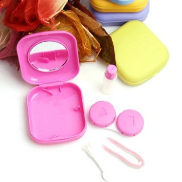 Cute Candy Colors Pocket Mini Contact Lenses Case Box For Eyes Travel Glasses Case Free Shipping