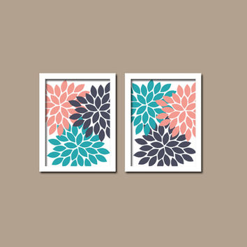 Bold Colorful Turquoise Coral Navy Floral Flower Burst Set of 2 Prints WALL Baby Decor Abstract ART Bedroom Bathroom NURSERY Picture Crib