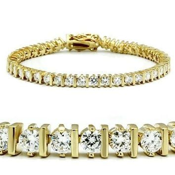 47205 Gold Brass Bracelet with AAA Grade CZ in Clear