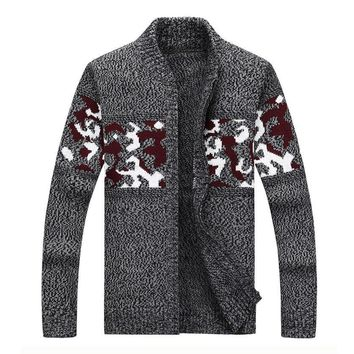 Men Casual Sweater Knitted Sweater Cardigan Jacket Fashion Camo Jacquard Men's Knitting Outwear High Quality