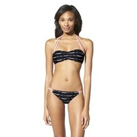Xhilaration® Junior's 2-Piece Stripe Swimsuit -Black
