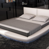 Modrest Sferico  Modern Eco-Leather Eastern King Size Bed with LED Lights VGINSFERICO