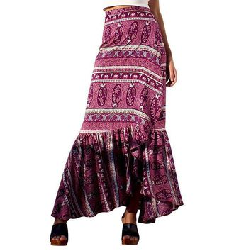 BONGOR LUSS Autumn Winter Women Skirt Casual High Waist Bohemian Big Swing Maxi Skirt Women Printing Split Ruffles Skirts Womens