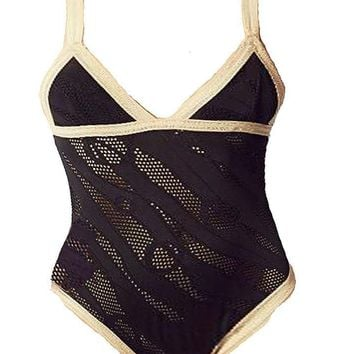 Leah Shlaer Swimwear - LSL EYELET LACE ONE PIECE WITH NUDE TRIM