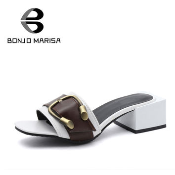 BONJOMARISA 2017 Summer Concise Sexy Mules Big Buckle Peep Toe Med Heel Elegant Women Shoes Size 35-39