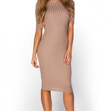 Kennedy Mocha Tan Ribbed 34 Sleeve High Neck Bodycon Midi Dress