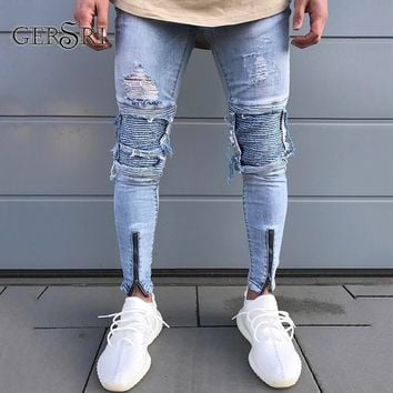 Gersri Skinny Jeans For Men Distressed Stretch Jeans Ice Blue New Ripped Skinny Jeans Slim Fit Dropshipping Supply Tape Design