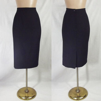 VINTAGE High Waisted Black Wool Pencil Skirt Sz 12