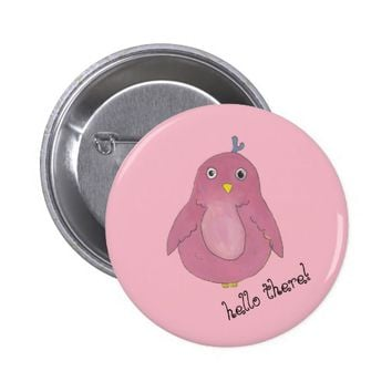Cute Pink Owl Pinback Button