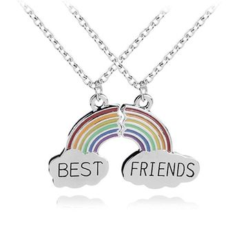 Fashion 2 Piece Enamel Rainbow Cloud Pendant Necklace Best Friend Necklace Set Good Friendship Jewelry Gift For Friends Collares