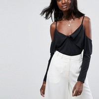 ASOS Top in Crepe with Clean Cold Shoulder at asos.com