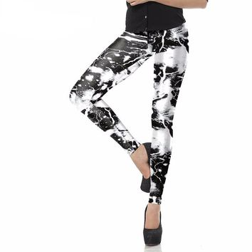 Lightning Black And White Leggings