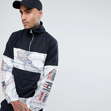 Jaded London Overhead Windbreaker Jacket In Black With Map Print at asos.com