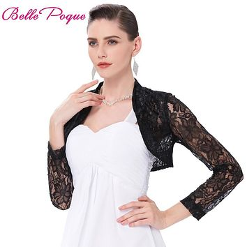 Sexy Black White Lace Bolero Elegant Ladies Shrug Long Sleeve Pl cbebbfb233ee