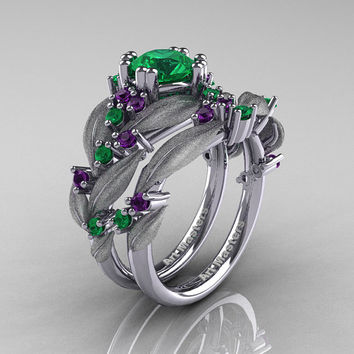 Nature Classic 14K White Gold 1.0 Ct Emerald Amethyst Leaf and Vine Engagement Ring Wedding Band Set R340SS-14KWGAMEM